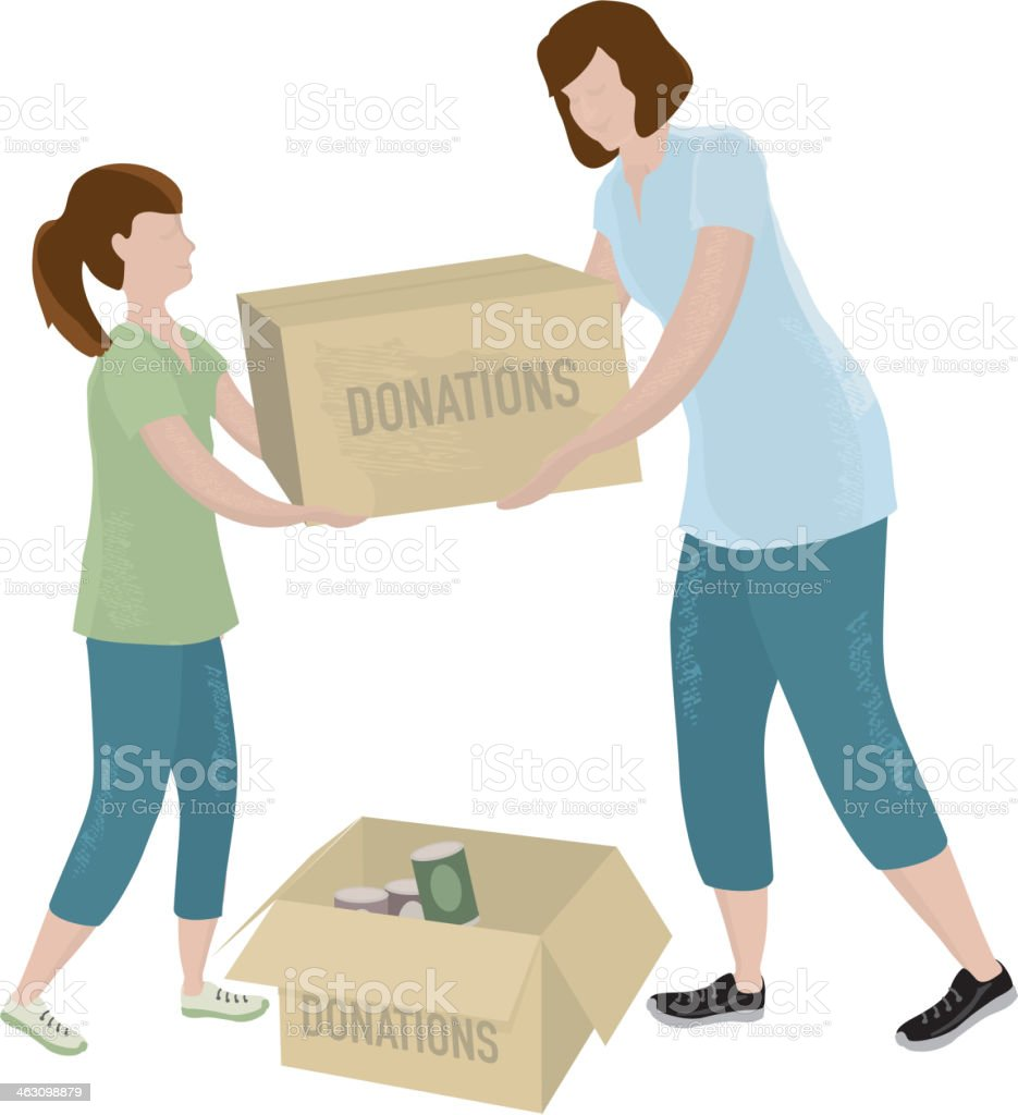 Mother and child lifting donation boxes royalty-free stock vector art