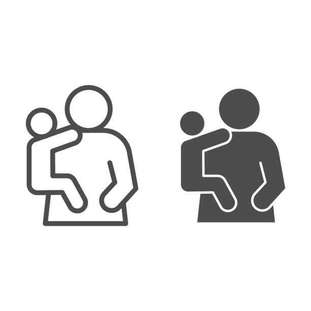 母と子の線と固体アイコン。お母さんと子供、手のシンボルに赤ちゃんを保持している女性、白い背景にアウトラインスタイルのピクトグラム。モバイルコンセプトまたはウェブデザインの� - シングルマザー点のイラスト素材/クリップアート素材/マンガ素材/アイコン素材