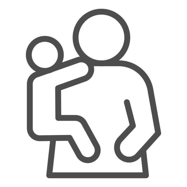 母と子の行アイコン。お母さんと子供、手のシンボルに赤ちゃんを保持している女性、白い背景にアウトラインスタイルのピクトグラム。モバイルコンセプトまたはウェブデザインの関係記� - シングルマザー点のイラスト素材/クリップアート素材/マンガ素材/アイコン素材