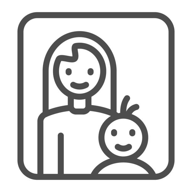母子のラインアイコン、母性の概念、赤ちゃんのサインを持つお母さんは白い背景に、母子は、モバイルコンセプトとウェブデザインのためのアウトラインスタイルのフレームアイコンで。� - シングルマザー点のイラスト素材/クリップアート素材/マンガ素材/アイコン素材