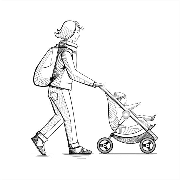 Mutter und Kind auf der Straße. – Vektorgrafik