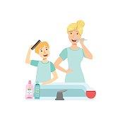 Mother And Child Preparing For Bed Together Illustration