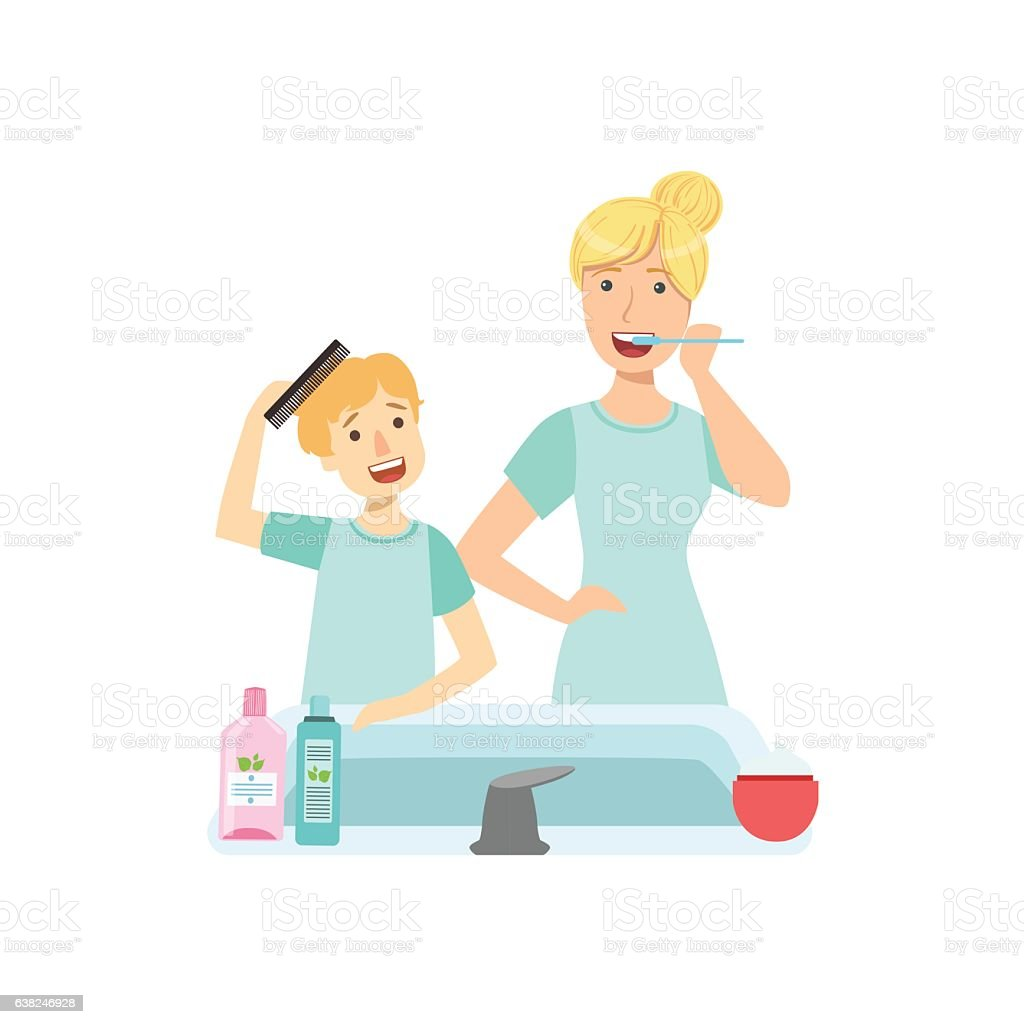 Mother And Child Preparing For Bed Together Illustration vector art illustration