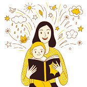 Mother and child reading a book together. Including doodle drawings with clouds, stars and sparks. Hand drawn cartoon illustration about family.