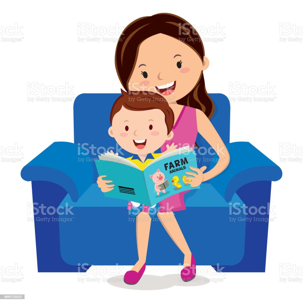 Mother and child reading book vector art illustration