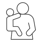 Mother and child thin line icon. Mom and kid, woman holding baby on hand symbol, outline style pictogram on white background. Relationship sign for mobile concept or web design. Vector graphics