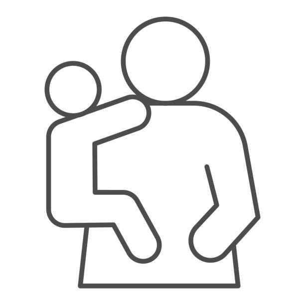 母子細い線アイコン。お母さんと子供、手のシンボルに赤ちゃんを保持している女性、白い背景にアウトラインスタイルのピクトグラム。モバイルコンセプトまたはウェブデザインの関係記� - シングルマザー点のイラスト素材/クリップアート素材/マンガ素材/アイコン素材