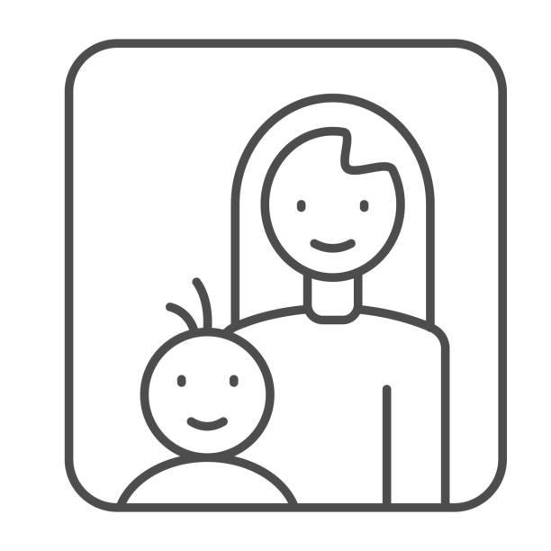 母子細線アイコン、母性の概念、赤ちゃんのサインを持つお母さんは白い背景に、母子は、モバイルコンセプトとウェブデザインのためのアウトラインスタイルのフレームアイコンで。ベク� - シングルマザー点のイラスト素材/クリップアート素材/マンガ素材/アイコン素材