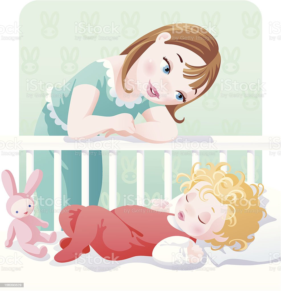 Mother and child vector art illustration