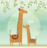 Mother Giraffe and her Child. Eps 10 Format - Opacity and transparency effect. Zip contains AI, PDF and hi-res jpeg.