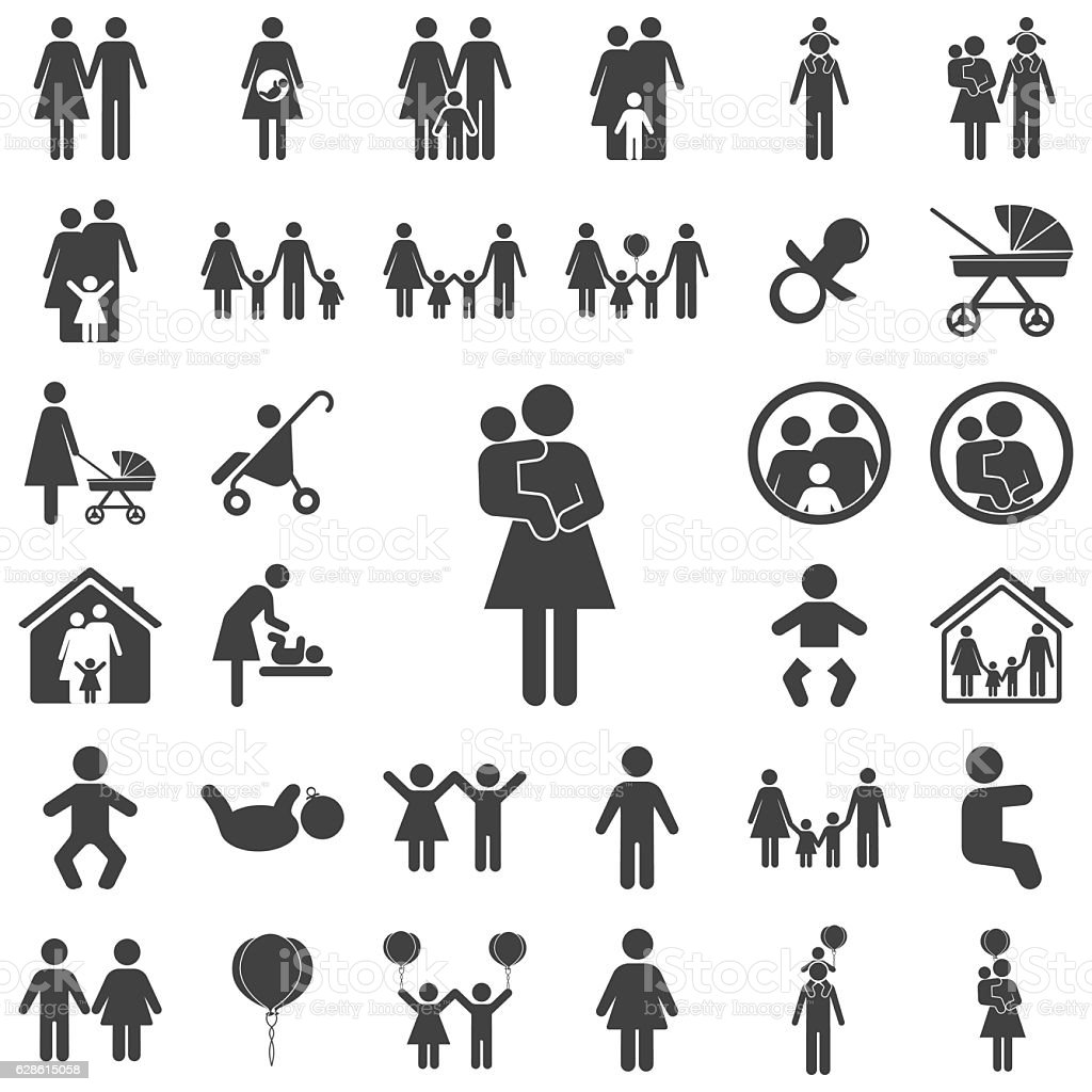 Mother and child vector symbol icon