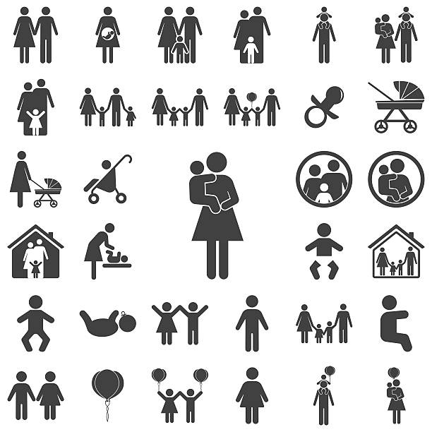 Mother and child vector symbol icon Mother and child vector symbol icon on the white background. Family set of icons parenting stock illustrations