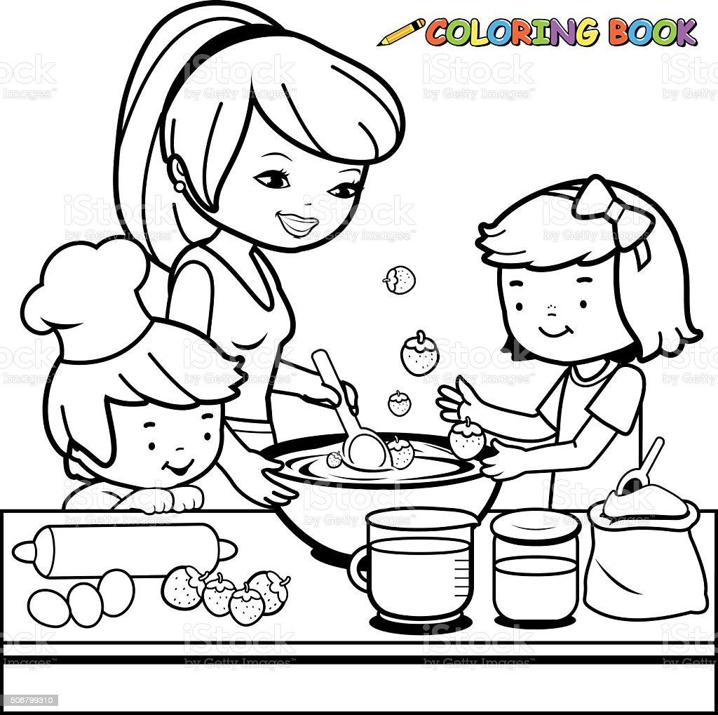 Mère et enfants de cuisson dans la cuisine livre de coloriage page - Illustration vectorielle