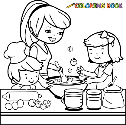 Mother And Children Cooking In The Kitchen Coloring Book Page Stock Illustration - Download Image Now