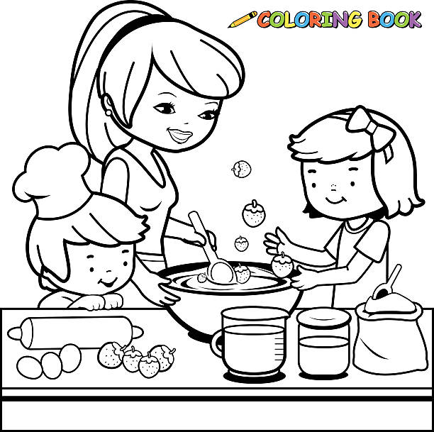 Mother And Children Cooking In The Kitchen Coloring Book Page Vector Art Illustration