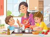 Vector illustration of a mother with two children cooking and preparing meal in the kitchen together.