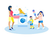 Mother and Children Doing Housework Illustration