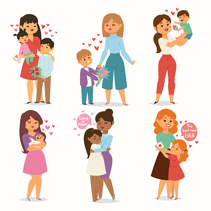 Mother and children kids with flower bouquet love heart couples. Mothers, Valentine or Womans 8 march day. Spring or summer family holiday beautiful female character Mothers Day celebration present clipart