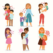 Mother and children kids with flower bouquet love heart couples. Mothers, Valentine or Womans 8 march day. Spring or summer family holiday concept beautiful female character Mothers Day celebration holding present