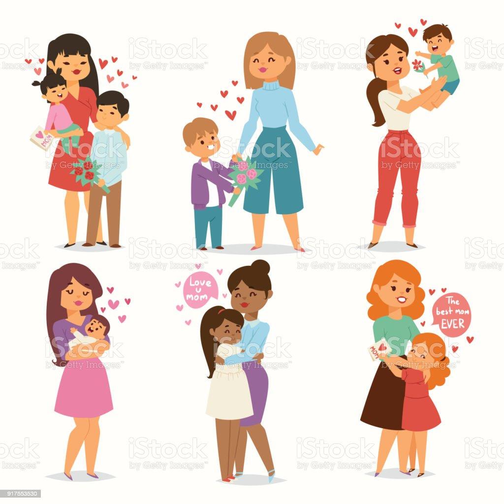 Mutter und Kinder Kinder mit Blumenstrauß lieben Herzen Paare. Mütter, Valentinstag oder Womans 8 März-Tag. Frühjahr oder Sommer Familienurlaub schönen weiblichen Charakter Mothers Day Feier anwesend – Vektorgrafik