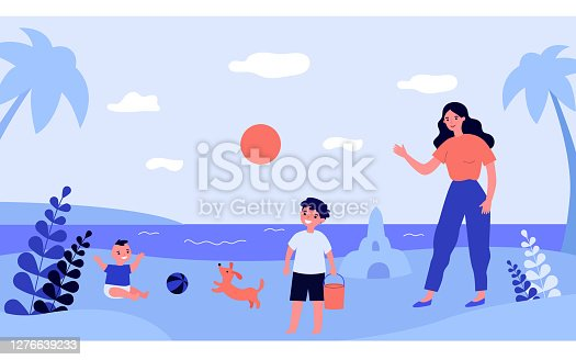 Mother and children playing on sea beach. Sand, toy, baby flat vector illustration. Summer activity and lifestyle concept for banner, website design or landing web page