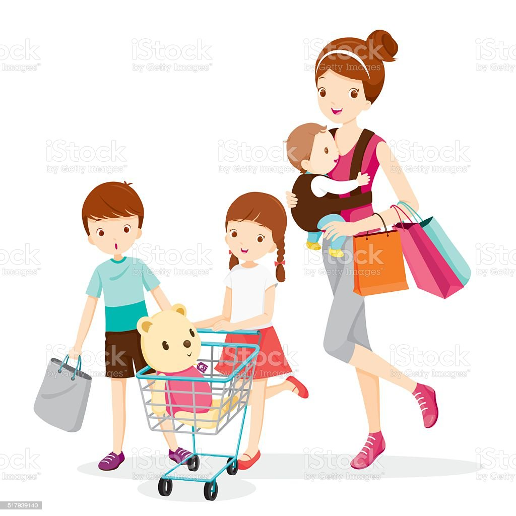 Mother And Children Shopping Together vector art illustration