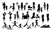 mother and children silhouette set, isolated vector illustration scenes in black color, mom with daughter son kids baby bake, play ride bike, make exercise sport run yoga dance hug kiss walk, shopping