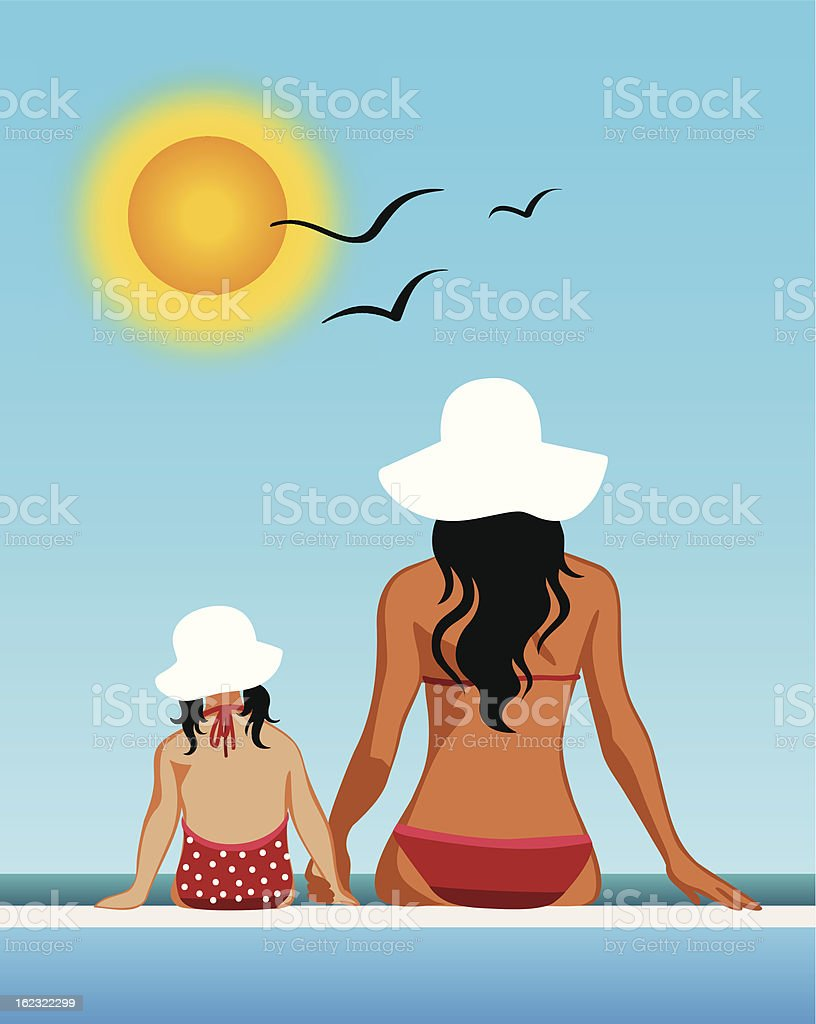 Mother and daughter at the beach vector art illustration