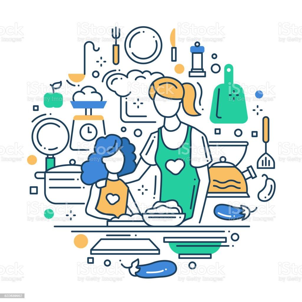 Mère et fille à la cuisine, la composition de ligne conception - Illustration vectorielle