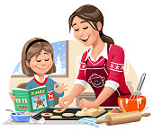 Vector illustration of a young mother and her little daughter in the kitchen baking Christmas cookies. The girl is holding a cookbook and is assisting her mother.