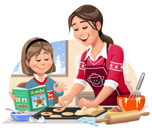 illustrazioni stock, clip art, cartoni animati e icone di tendenza di mother and daughter baking christmas cookies - christmas cooking