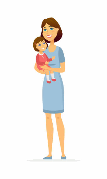 mother and daughter - cartoon people characters illustration - single mother stock illustrations