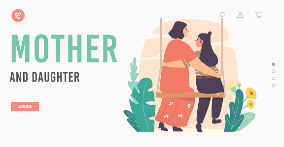 Mother and Daughter Characters Landing Page Template. Mom and Girl Embrace Sitting on Swing. Mothers Day. Loving Mom