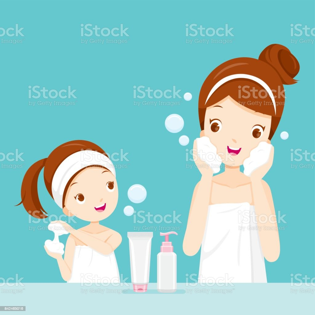Mother And Daughter Cleaning And Care Her Face vector art illustration