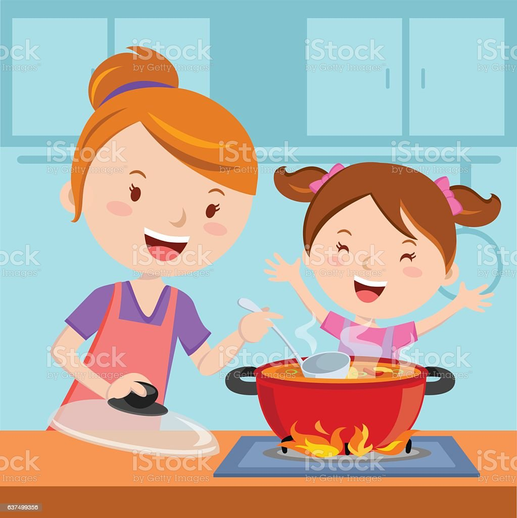 Mother and daughter cooking food together vector art illustration