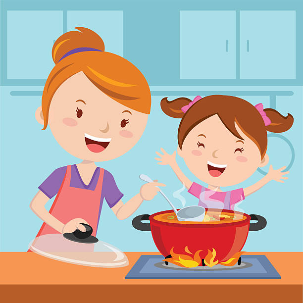 mother and daughter cooking food together - hauswirtschaft stock-grafiken, -clipart, -cartoons und -symbole