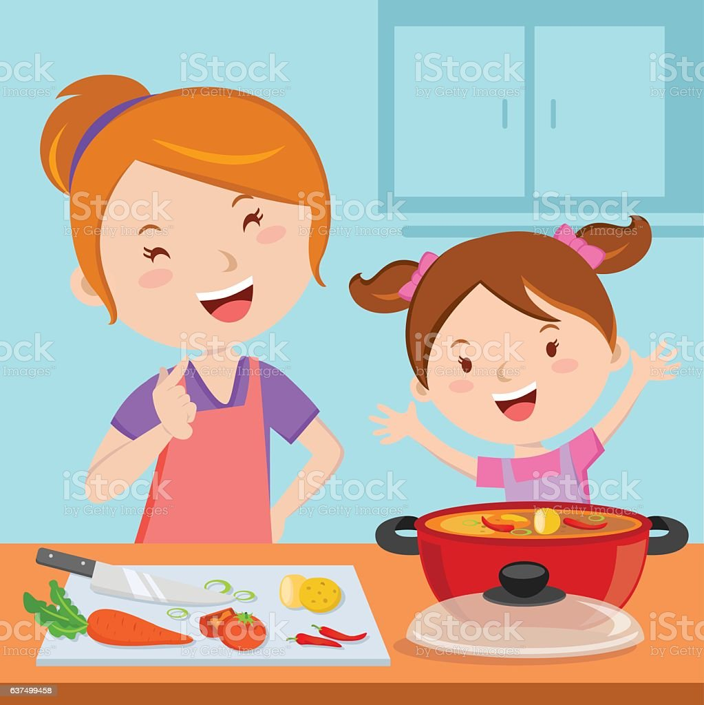Mother and daughter cooking food vector art illustration