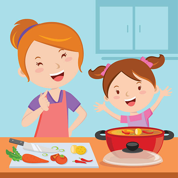 Mom Cooking Illustrations, Royalty-Free Vector Graphics