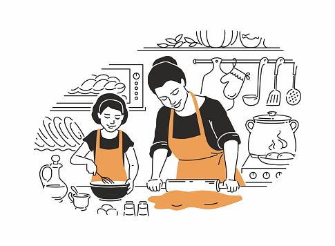 Mother and daughter cooking - modern vector illustration