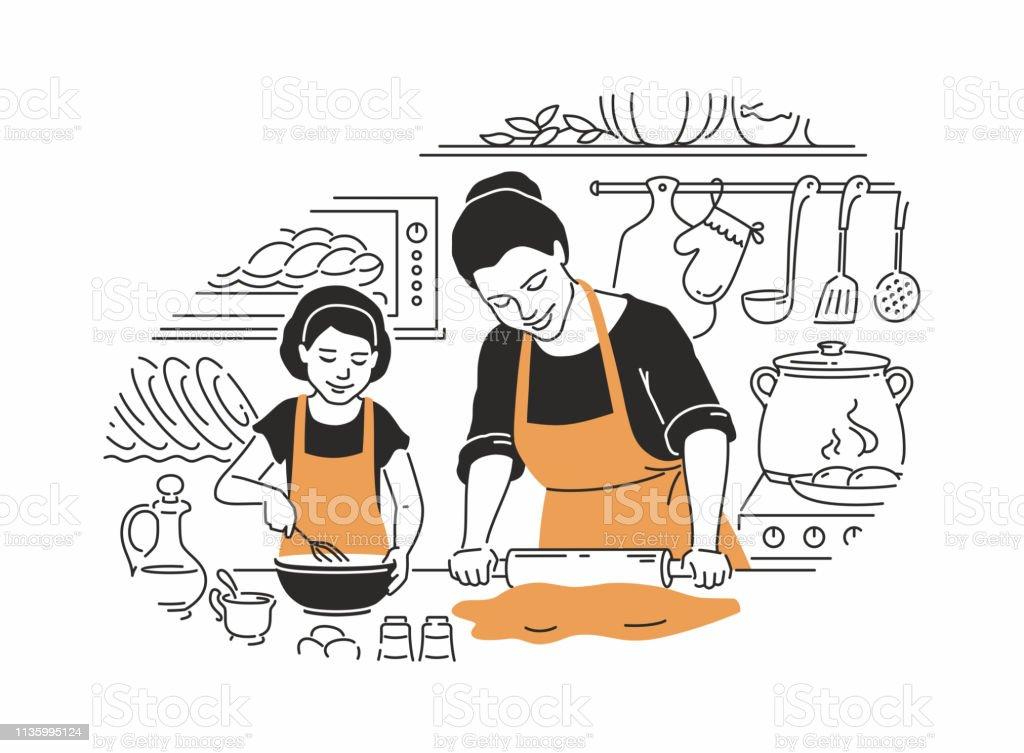 Mère et fille cuisine-illustration vectorielle moderne - Illustration vectorielle