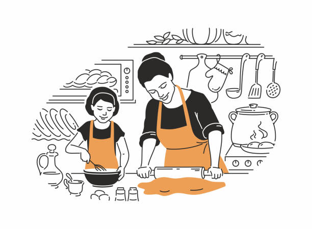 Mother and daughter cooking - modern vector illustration Mother and daughter cooking - modern vector illustration in line design style with color accents. Young parent with a rolling pin, making dough, a girl with a whisk, preparing a cake in the kitchen domestic kitchen stock illustrations