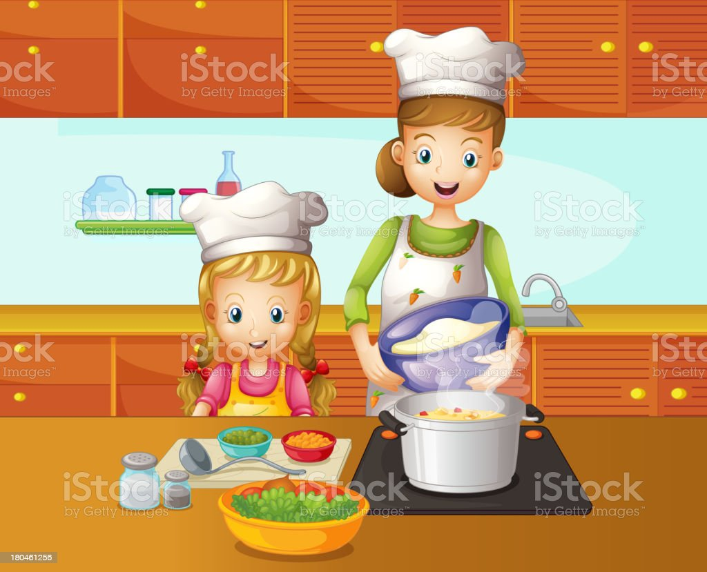 mother and daughter cooking royalty-free stock vector art