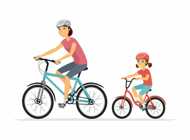 mother and daughter cycling - cartoon people characters illustration - single mother stock illustrations