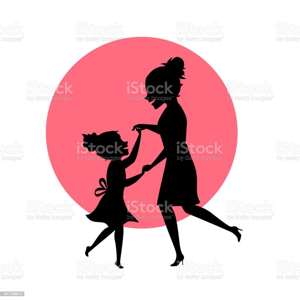 Ilustración De Madre E Hija Bailando Juntos Siluetas Vector Escena