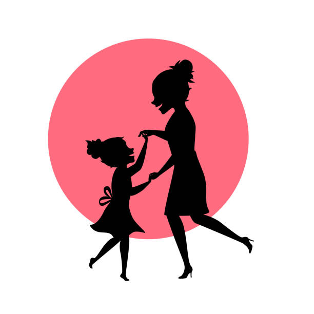 mother and daughter dancing together silhouettes vector illustration scene mother and daughter dancing together silhouettes vector illustration scene daughter stock illustrations