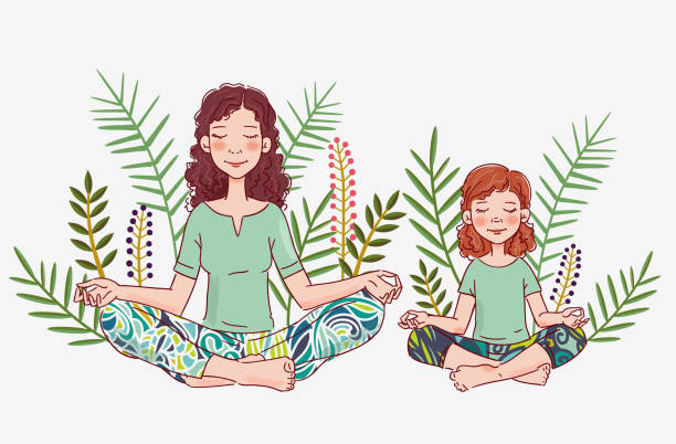 Mother and daughter doing yoga. Family yoga vector illustration Mother and daughter doing yoga. Family yoga vector illustration daughter stock illustrations