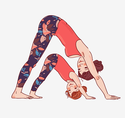 Mother and daughter doing yoga clipart