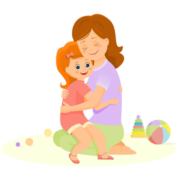 Top 60 Drawing Of The Mother And Daughter Hugging Clip Art