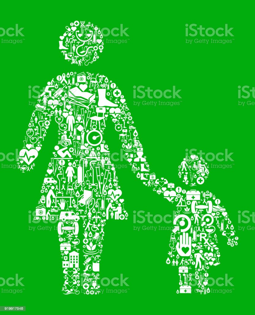 Mother and Daughter Green Medical Rehabilitation Physical Therapy vector art illustration