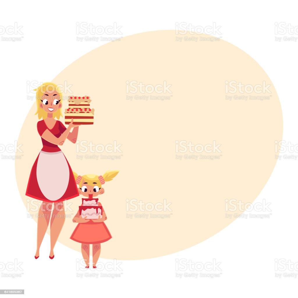 Ilustracion De Madre E Hija Que Tortas De Cumpleanos Preparandose